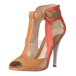 Shoespie Block Color Cutout Peep Toe Sandals