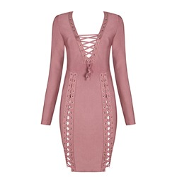 Shoespie Asymmetric Lace-Up V-Neck Long Sleeve Bodycon Dress