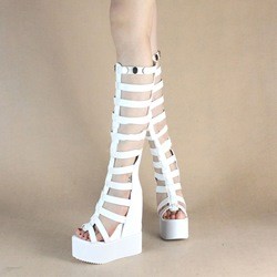 Shoespie Open Toe Rivets Cutout Platform Heels