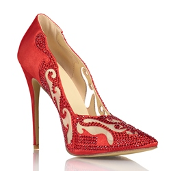 Shoespie Red Rhinestone Hollow Out High Bridal Shoes