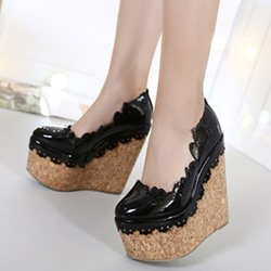 Shoespie Lacy Round-Toe Wedge Heels
