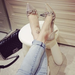 Shoespie Pointed-toe Shallow Reticular Stiletto Heels