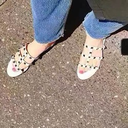 Shoespie Strappy Square Rivets Fashion Slippers