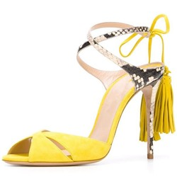 Shoespie Peep-toe Cross Strap Tassels Dress Sandals