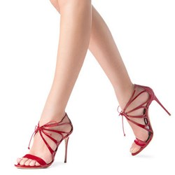 Shoespie Red Hollow Out Lace-up Dress Sandals