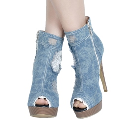 Shoespie Peep-toe Denim Side Zipper Platform Heels