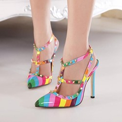 Shoespie Rainbow Rivets T-Strap Stiletto Heels