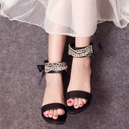 Shoespie Ankle Wrap Bows and Beads Flat Sandals