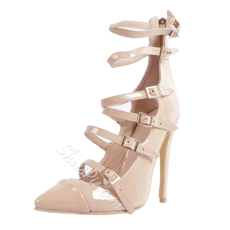 Shoespie Multiple Metal Buckles Stiletto Heels
