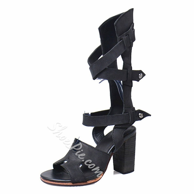 Shoespie Black Trendy Cutout Gladiator Sandals