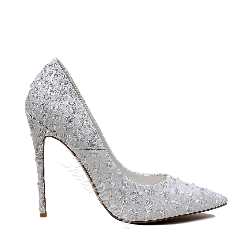 Shoespie Chaste White Bead Stiletto Heels