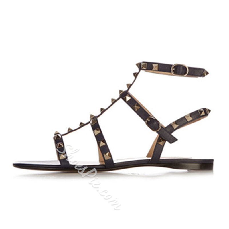 Shoespie Strappy Square Rivets Flat Sandals