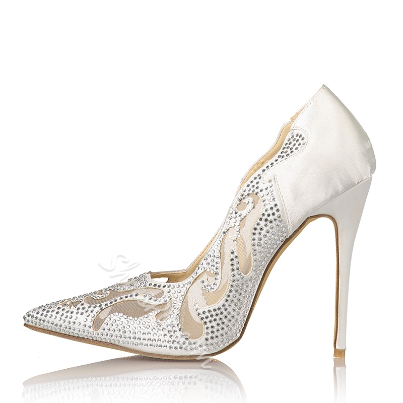 Shoespie Pointed-toe Rhinestone Cutout Stiletto Heels