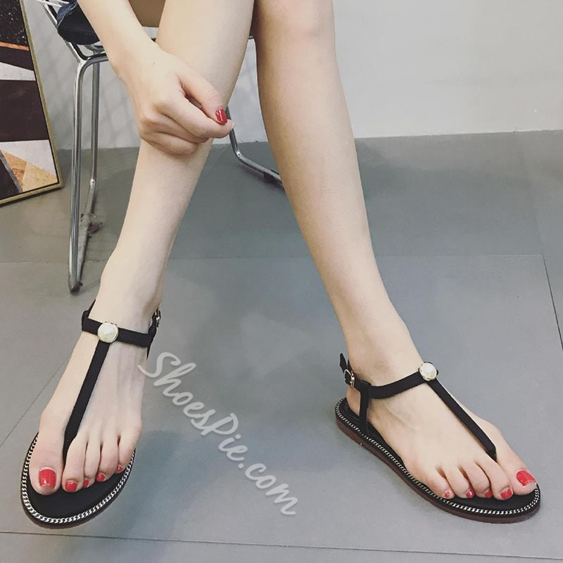 Shoespie Strappy Buckle Beads Thong Flat Sandal
