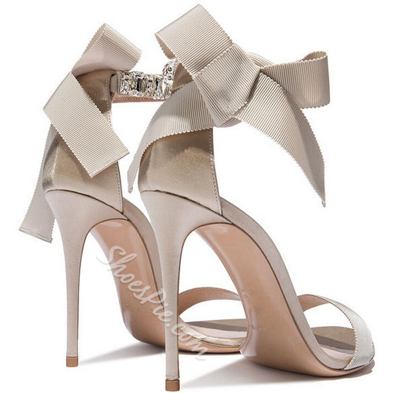 Shoespie Nude Ankle Wrap Ribbon Heel Sandals