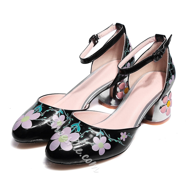 Shoespie Flowers Metal Buckles Graffiti Thick Low Heels