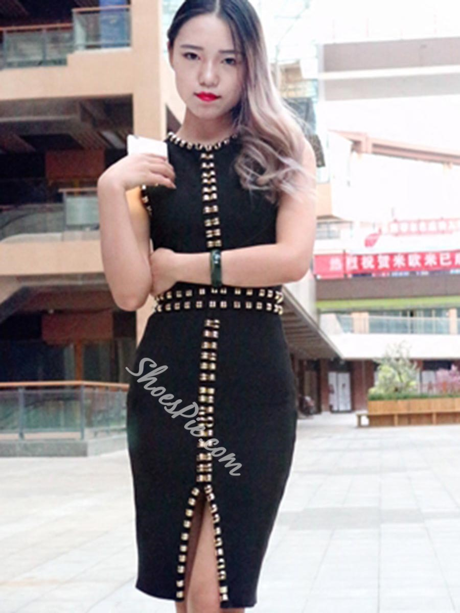 Shoespie Summer Beads Sleeveless Knee-Length Bodycon Dress