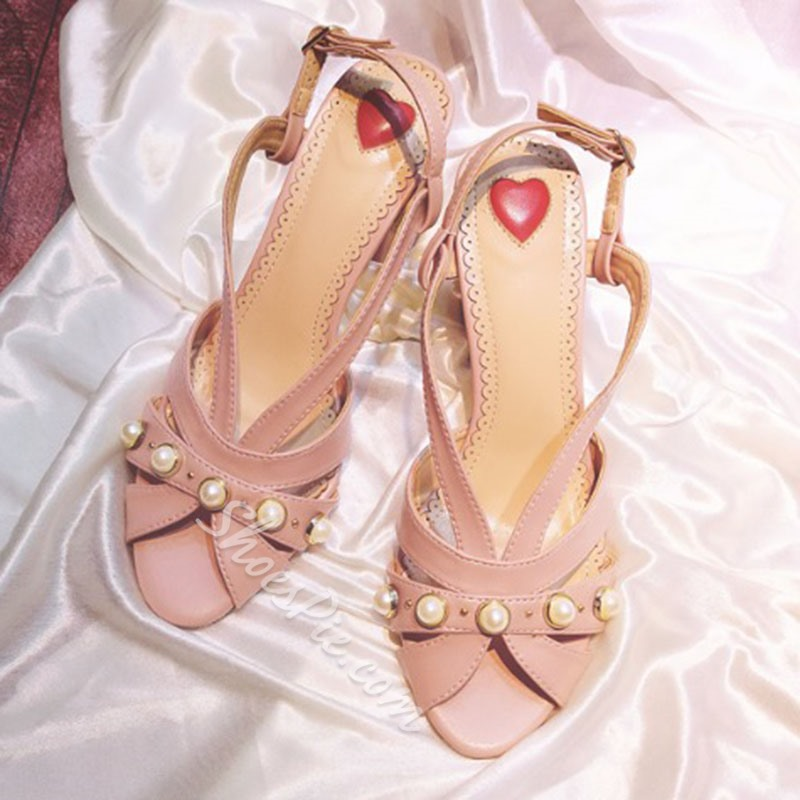Shoespie Pink Block Heel Sandals with Pearls
