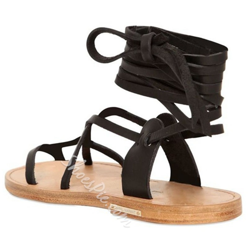 Shoespie Strappy Block Heel Lace-Up Flat Sandal