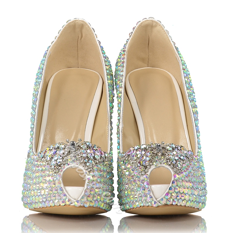Shoespie Rhinestone Open toe Bridal Shoes