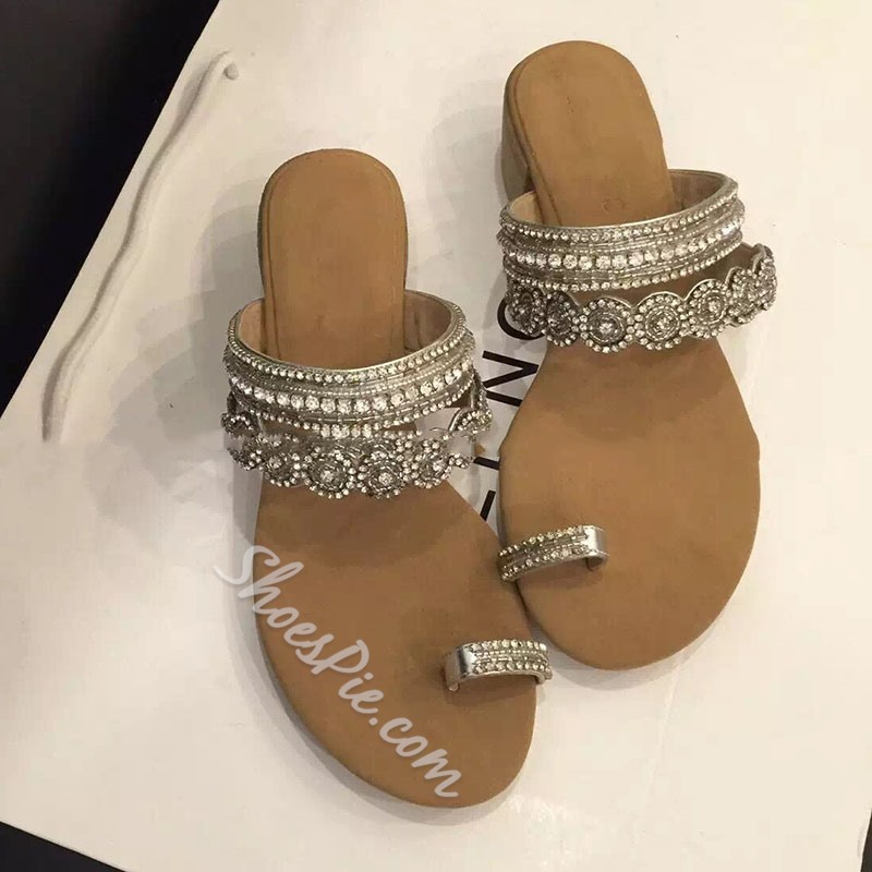 Shoespie Toe Ring Rhinestone Bead Women's Beach Slippers