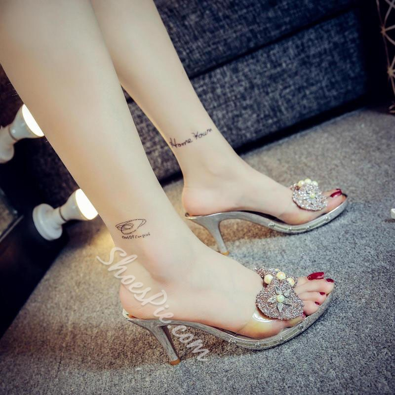 Shoespie Bling Bows Heel Mules