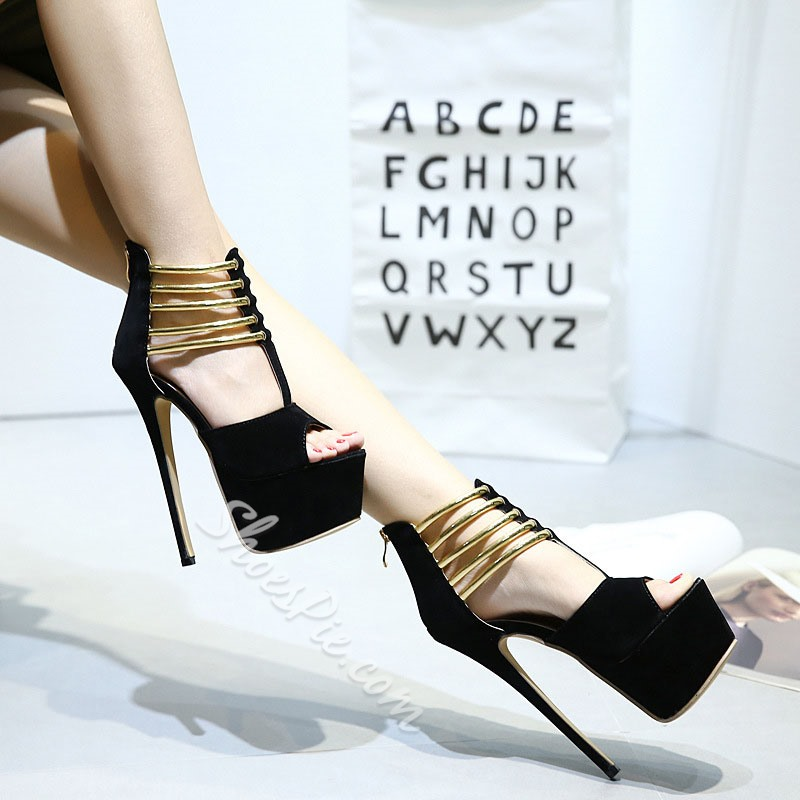 Shoespie Black Peep-toe T-Strap Metal Ring Platform Heels