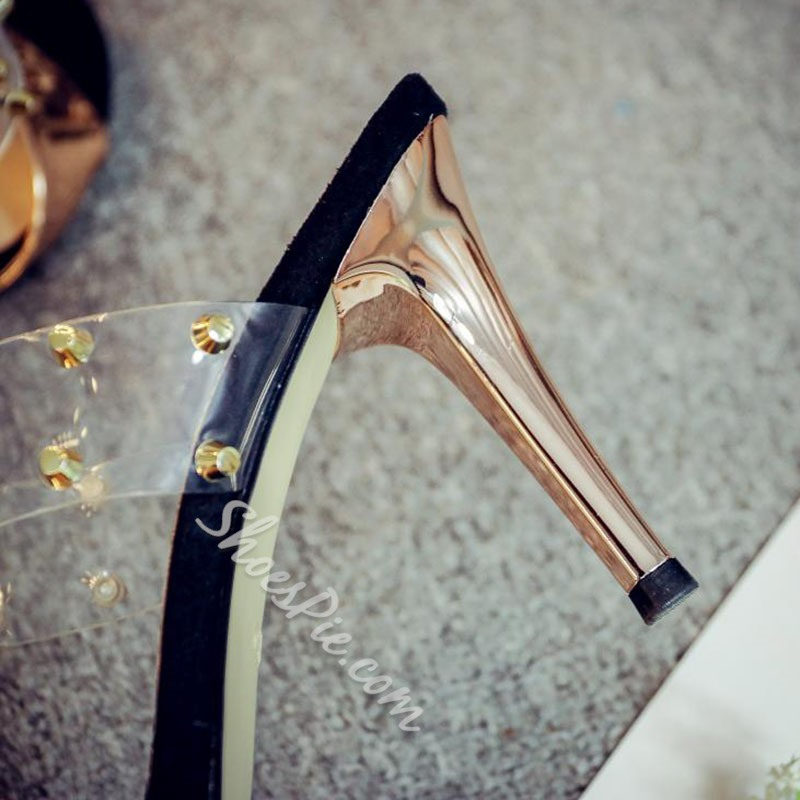 Rivet Jelly Sexy High Stiletto Heel Mules
