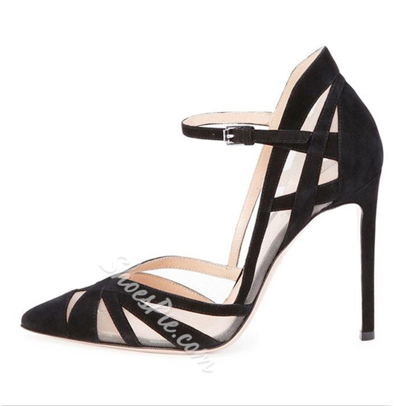 Shoespie Pointed Toe Patchwork Line-Style Buckle Stiletto Heel