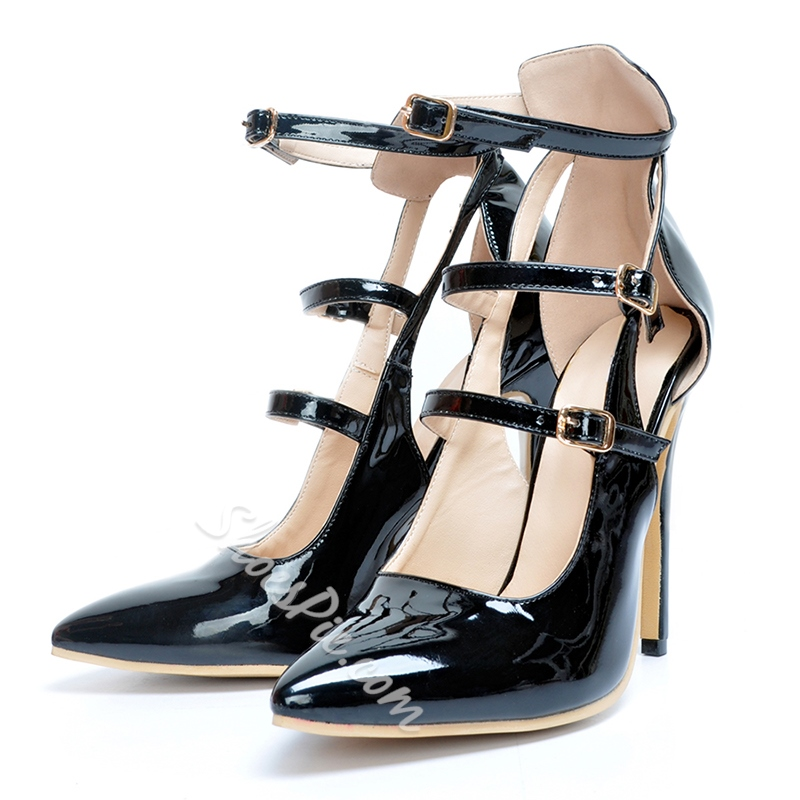 Shoespie Pointed-toe Multiple Metal Buckles Stiletto Heels