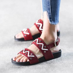 Shoespie Platform Buckle Open Toe Flat Sandals