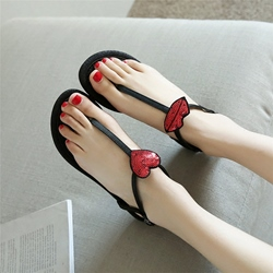 Shoespie Toed Buttoned Flat Sandals