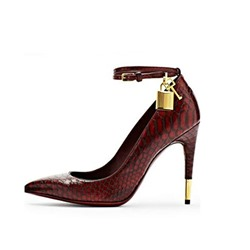 Shoespie Gladiator Lock Metal Buckles Stiletto Texture Heel