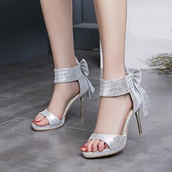 Shoespie Ankle Wrap Bows Dress Sandals
