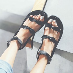 Shoespie Bowtie Buckle Open Toe Platform Sandals