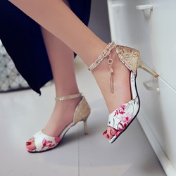 Shoespie Inky Flora Stiletto Heel Sandals