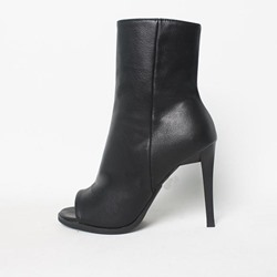 Shoespie Black Peep-toe Ankle Boots
