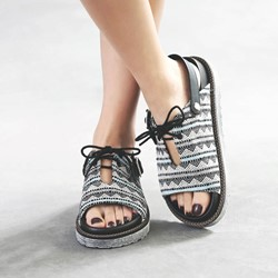Shoespie Geometric Lace-Up Open Toe Platform Sandals