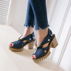 Shoespie Denim Zipper Decorated Rugged Block Heel Sandals