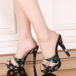 Shoespie Colorful Print Platform Heel Mules