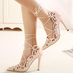 Shoespie Cutout Cross Strap Stiletto Heels