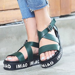 Shoespie Letters Strappy Platform Sandals