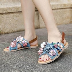 Shoespie Denim Flora Applique Flat Sandals