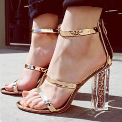 Shoespie Clear Heel Strappy Sandals