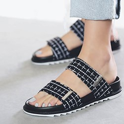 Shoespie Platform Plaid Velcro Women's Slide Sandals