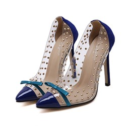 Shoespie Bow Rivet Color Block Slip-On Thread Stiletto Heel