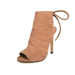 Shoespie High-Cut Upper Peep Toe Lace-Up Stiletto Heel