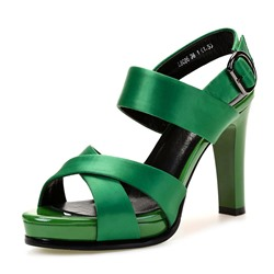 Shoepie Silk Fabric Ankle Strap Platform Chunky Heel Dress Sandals