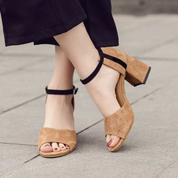 Shoespie Ankle Strap Block Heel Sandals