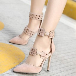 Shoespie Petal Cutout Metal Buckles Stiletto Heels